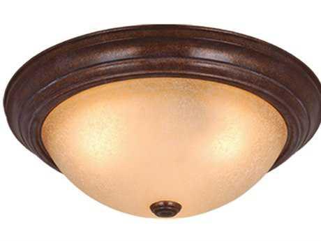 Vaxcel Saturn Royal Bronze & Creme Cognac Glass Two-Light 13 Flush Mount Light
