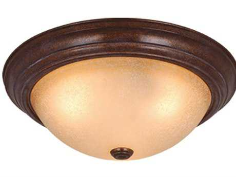 Vaxcel Saturn Royal Bronze & Creme Cognac Glass Three-Light 15 Flush Mount Light
