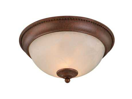Vaxcel Builder Twin Packs Weathered Patina & Alabaster Glass Two-Light 13 Flush Mount Light