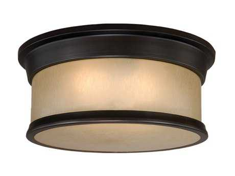 Vaxcel Carlisle Noble Bronze & Smoky Opal Glass Two-Light 14 Flush Mount Light