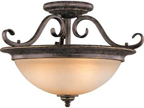 Vaxcel Mont Blanc Aztec Bronze Three-Light 18'' Wide Semi-Flush Mount Ceiling Light