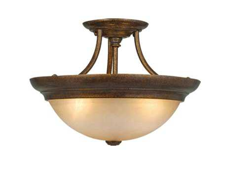 Vaxcel Royal Bronze & Brushed Cognac Glass Three-Light 15 Semi-Flush Mount Light
