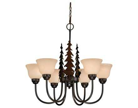 Vaxcel Bryce Burnished Bronze & Amber Flake Glass Six-Light 27'' Wide Chandelier