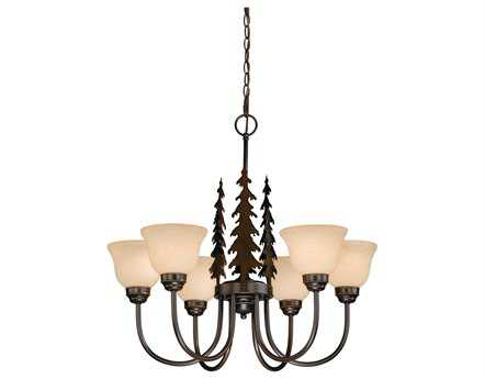 Vaxcel Yosemite Burnished Bronze & Amber Flake Glass Six-Light 27'' Wide Chandelier