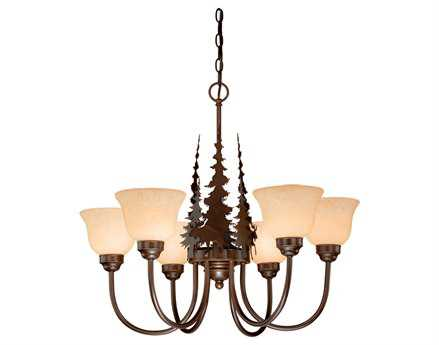 Vaxcel Yellowstone Burnished Bronze & Amber Flake Glass Six-Light 27'' Wide Chandelier