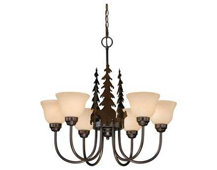 Vaxcel Bozeman Burnished Bronze & Amber Flake Glass Six-Light 27'' Wide Chandelier