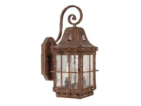 Vaxcel Edinburgh Colonial Iron & Water Glass Two-Light 7 Outdoor Wall Light