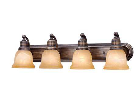 Vaxcel Lasalle Parisian Bronze & Amber Alabaster Glass Four-Light Vanity Light