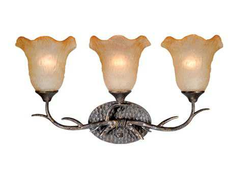 Vaxcel Monterey Autumn Patina & Umber & Mist Glass Three-Light Vanity Light