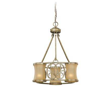 Vaxcel Newbury Venetian Brass & Sandstone Glass Three-Light 18'' Wide Chandelier