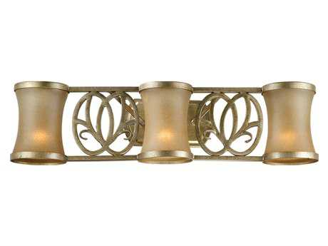 Vaxcel Newbury Venetian Brass & Sandstone Glass Three-Light Vanity Light
