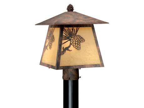 Vaxcel Whitebark Olde World Patina & Rust Scavo Glass 11 Outdoor Post Mount Lantern