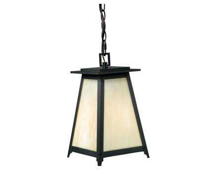 Vaxcel Prairieview Dark Bronze & Tiffany Glass 7-3/4 Outdoor Hanging Light