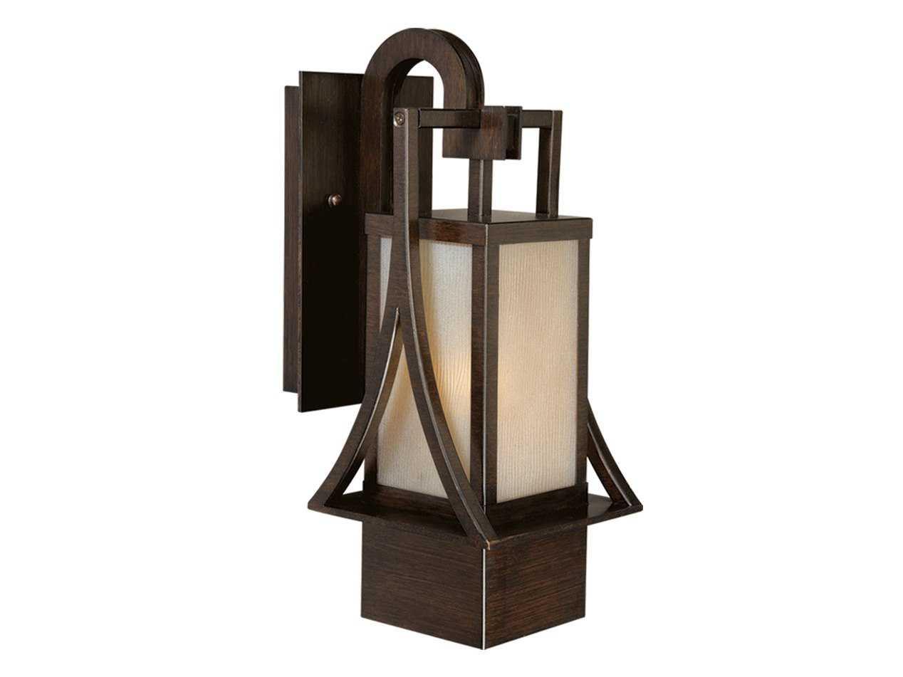 Vaxcel Osaka Venetian Bronze & Champagne Glass 6 Outdoor Wall Light T0041