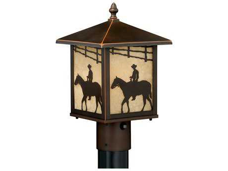 Vaxcel Trail Burnished Bronze 8'' Wide Outdoor Post Light