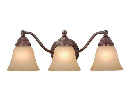 Vaxcel Standford Royal Bronze & Creme Cognac Glass Three-Light Vanity Light