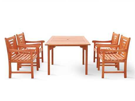 Vifah Malibu Wood 4 Person Wood Casual Patio Dining Set