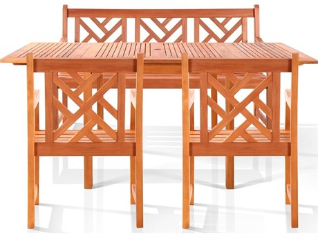 Vifah Eucalyptus Wood 7 Person Wood Casual Patio Dining Set