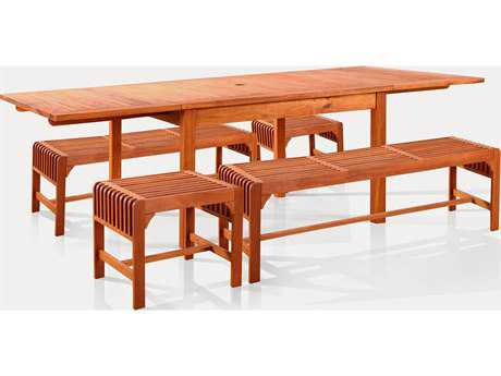 Vifah Eucalyptus Wood 8 or more Wood Casual Patio Dining Set