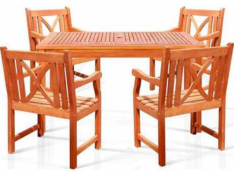 Vifah Eucalyptus Wood 4 Person Wood Casual Patio Dining Set