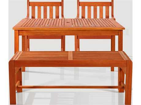 Vifah Eucalyptus Wood 4 Person Wood Casual Patio Dining Set