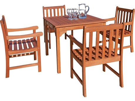 Vifah Eucalyptus Wood 6 Person Wood Casual Patio Dining Set