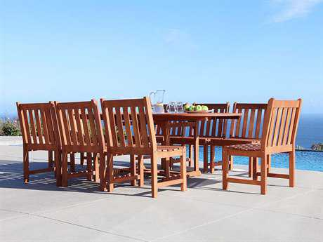 Vifah Malibu Wood 8 or more Wood Casual Patio Dining Set