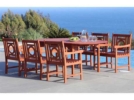 Vifah Malibu Wood 6 Person Wood Casual Patio Dining Set