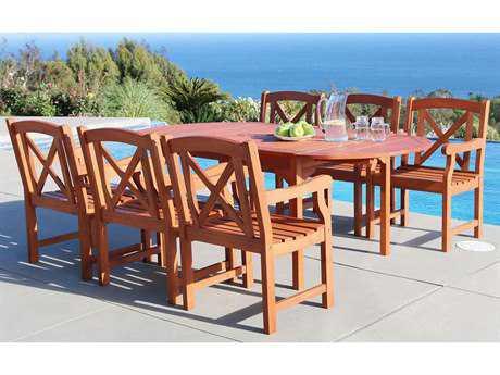 Vifah Malibu Wood 6 Person Wood Casual Patio Dining Set