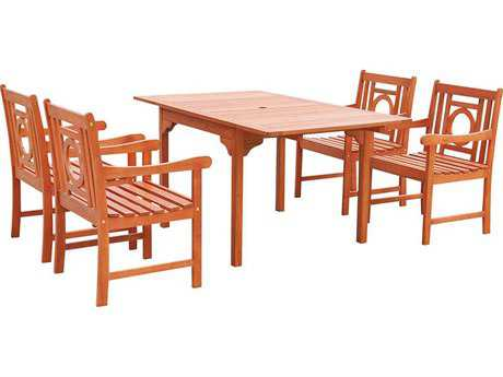 Vifah Malibu Wood 4 Person Wood Casual Patio Dining Set