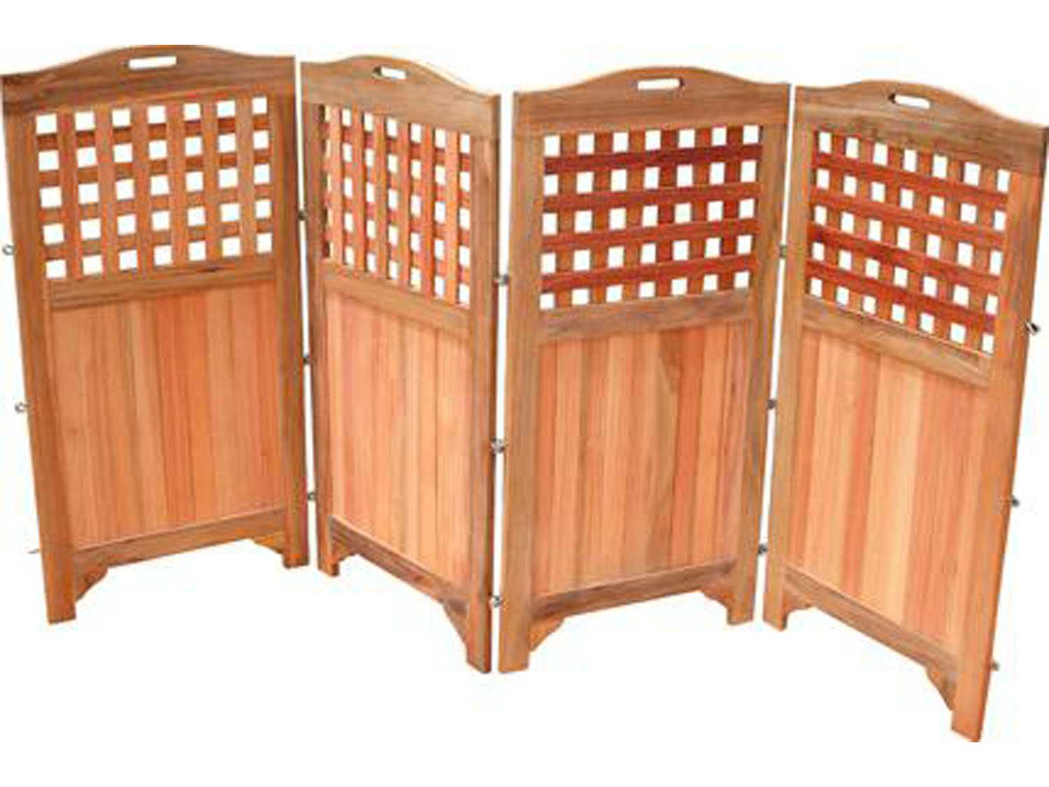 Vifah acacia wood 48 four panels privacy screen v163 for Wood patio privacy screens