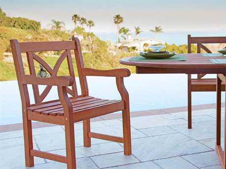 Vifah Eucalyptus Wood Arm Chair X-Back Design