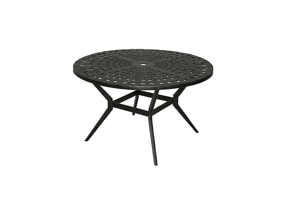 Windham Castings Woven Cast Aluminum 48 Round Metal Dining Table With