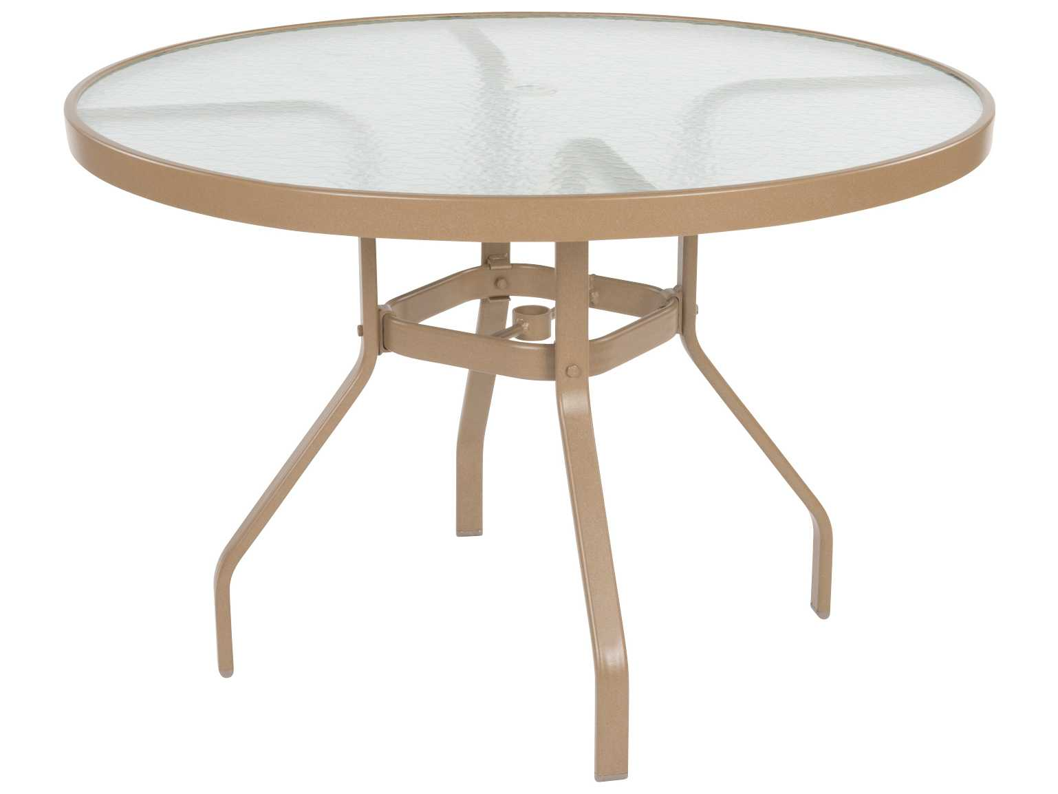 Windward design group glass top aluminum 42 round dining for Round glass top dining table