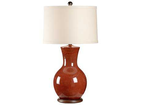 Wildwood Lamps Porcelain Faux Wood Mounting Luscious Red Table Lamp