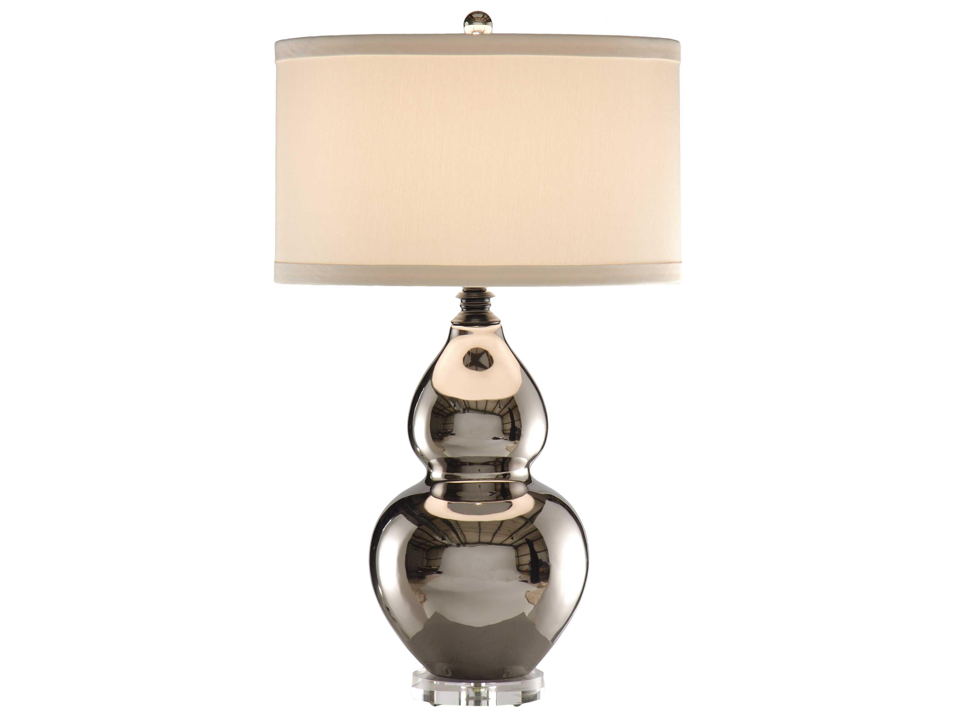 lamps ceramic metallic silver gourd acrylic base shiny table lamp. Black Bedroom Furniture Sets. Home Design Ideas