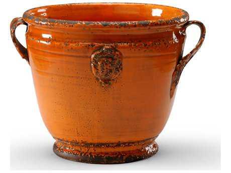 Wildwood Lamps Rustica Planter Antique Persimmon Glaze Earthenware Vase