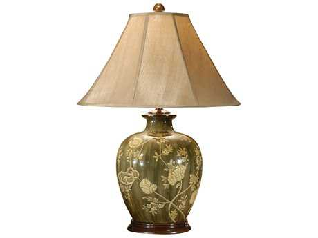 Wildwood Lamps Acrylic Lacquer On Porcelain Creamy Flowers Table Lamp