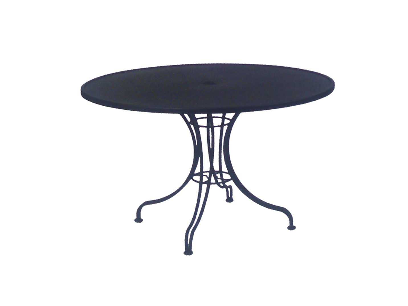 woodard wrought iron 42 round patio bistro table with umbrella hole 13l4ru48. Black Bedroom Furniture Sets. Home Design Ideas