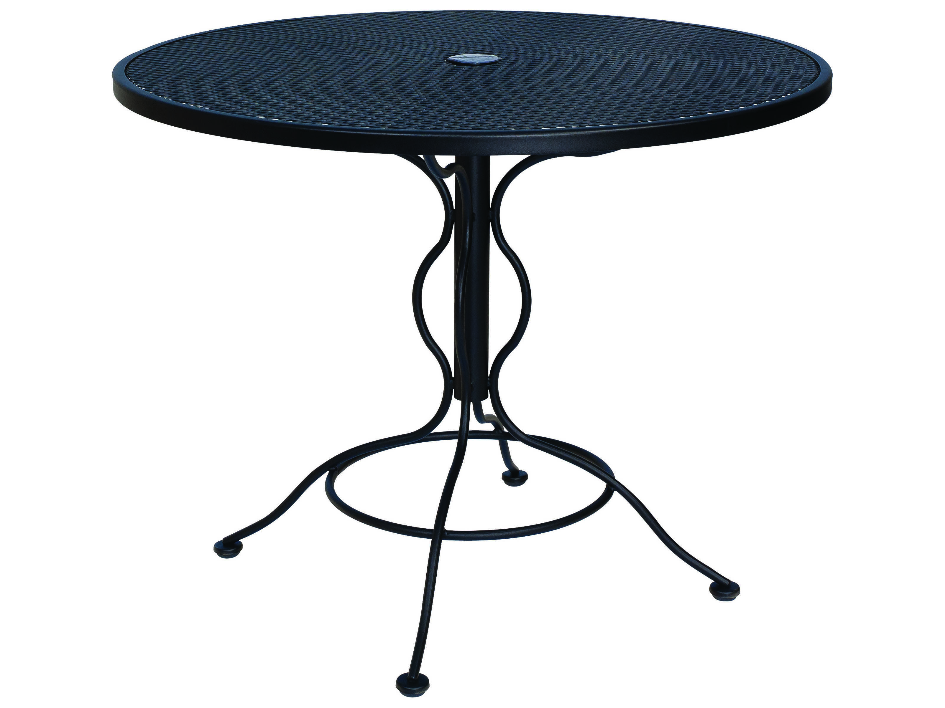 woodard mesh wrought iron 36 round bistro table with umbrella hole 190135. Black Bedroom Furniture Sets. Home Design Ideas