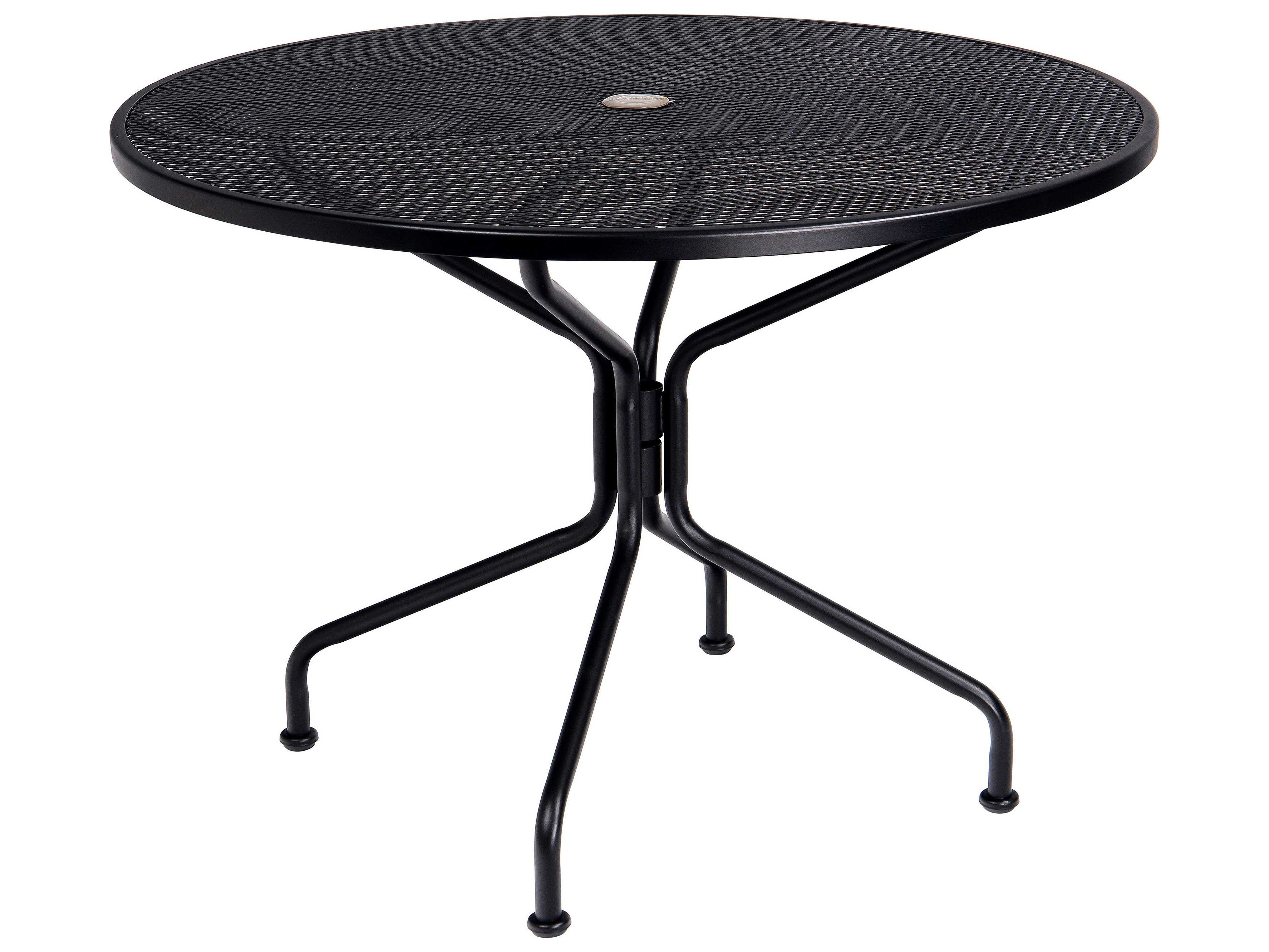 Woodard wrought iron 42 round umbrella table 4 spoke 190229 for Metal patio table