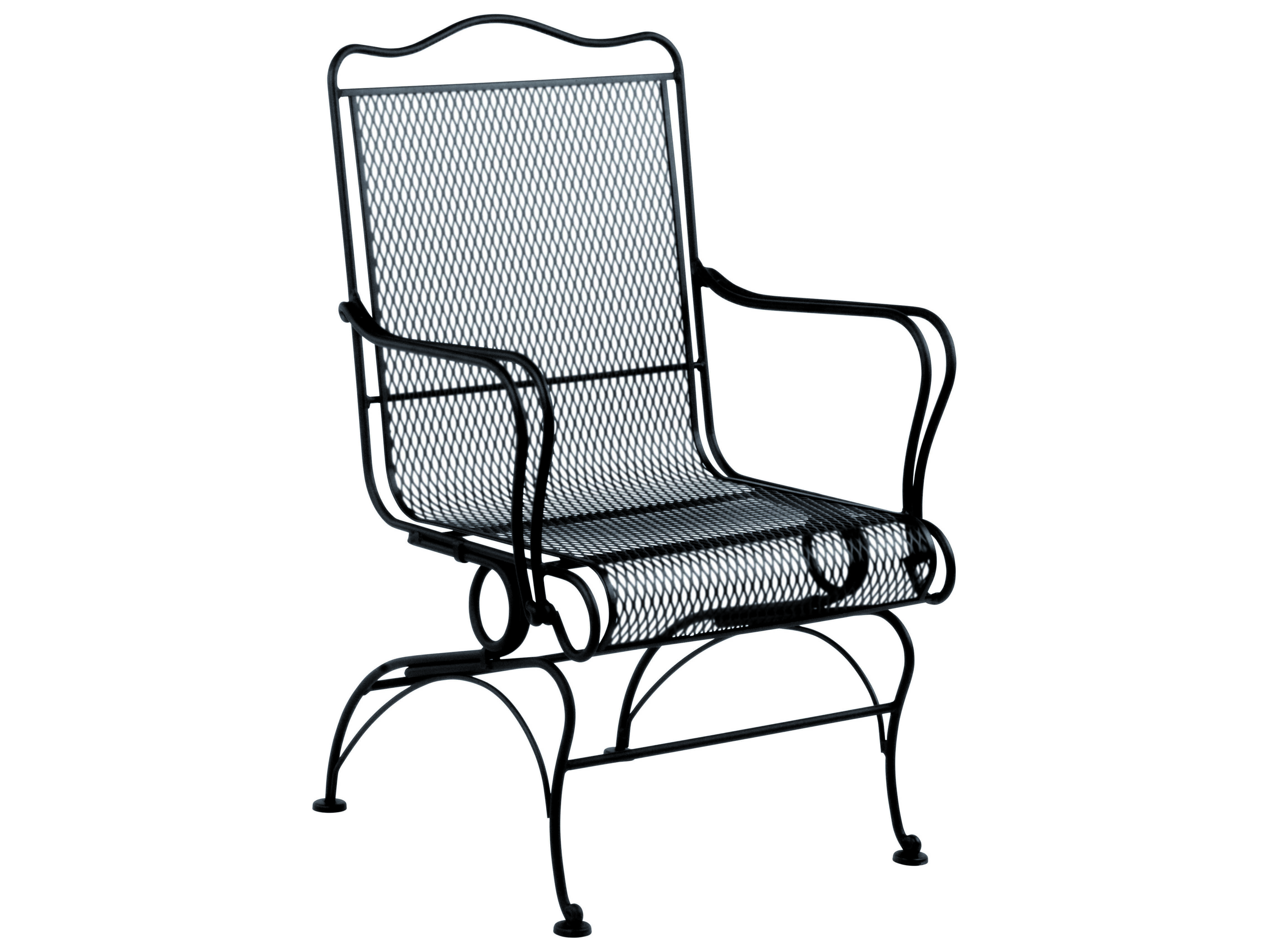 Woodard Tucson Wrought Iron High Back Coil Spring Chair