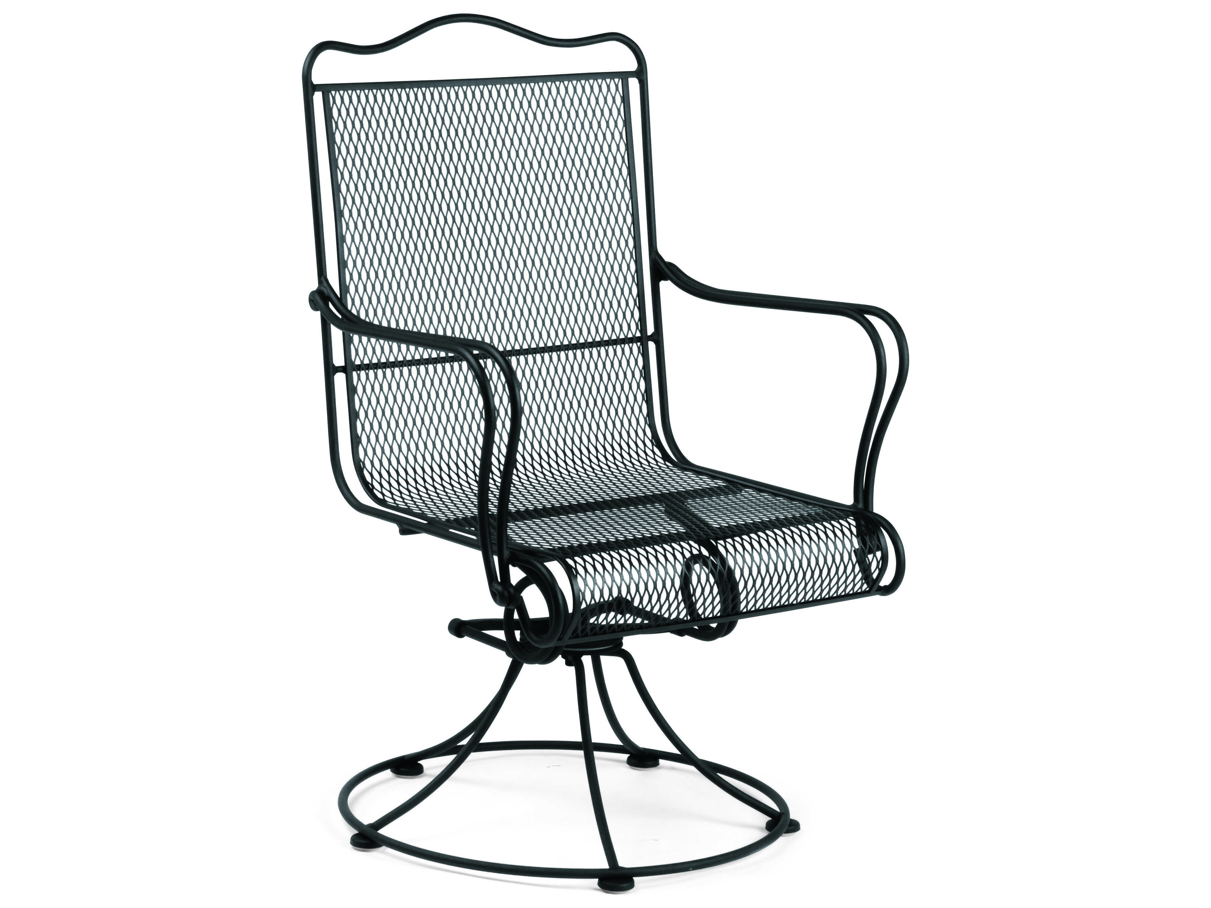 Woodard Tucson Wrought Iron High Back Swivel Rocker Dining Chair