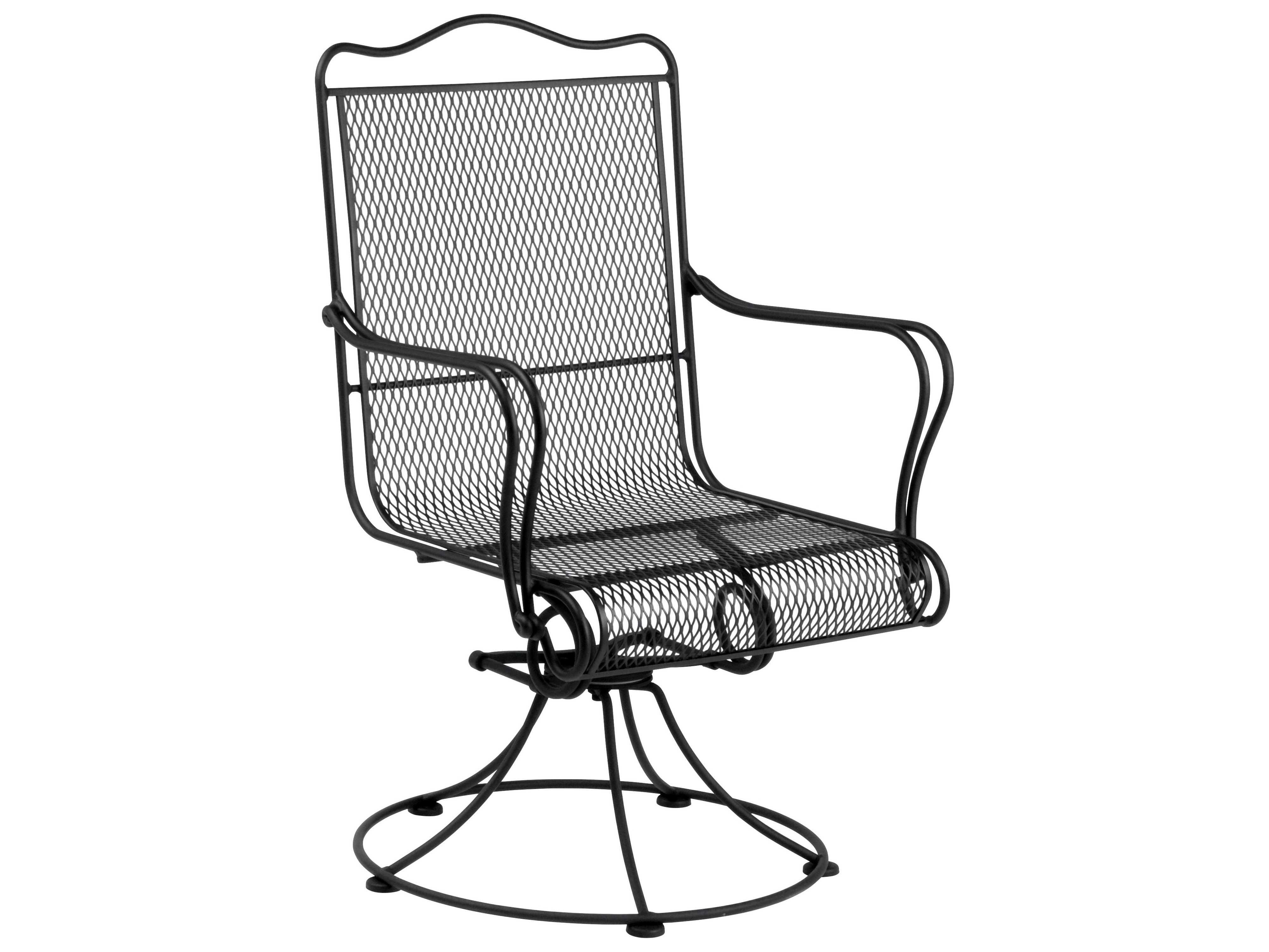 Woodard tucson wrought iron high back swivel rocker dining for Iron patio chairs