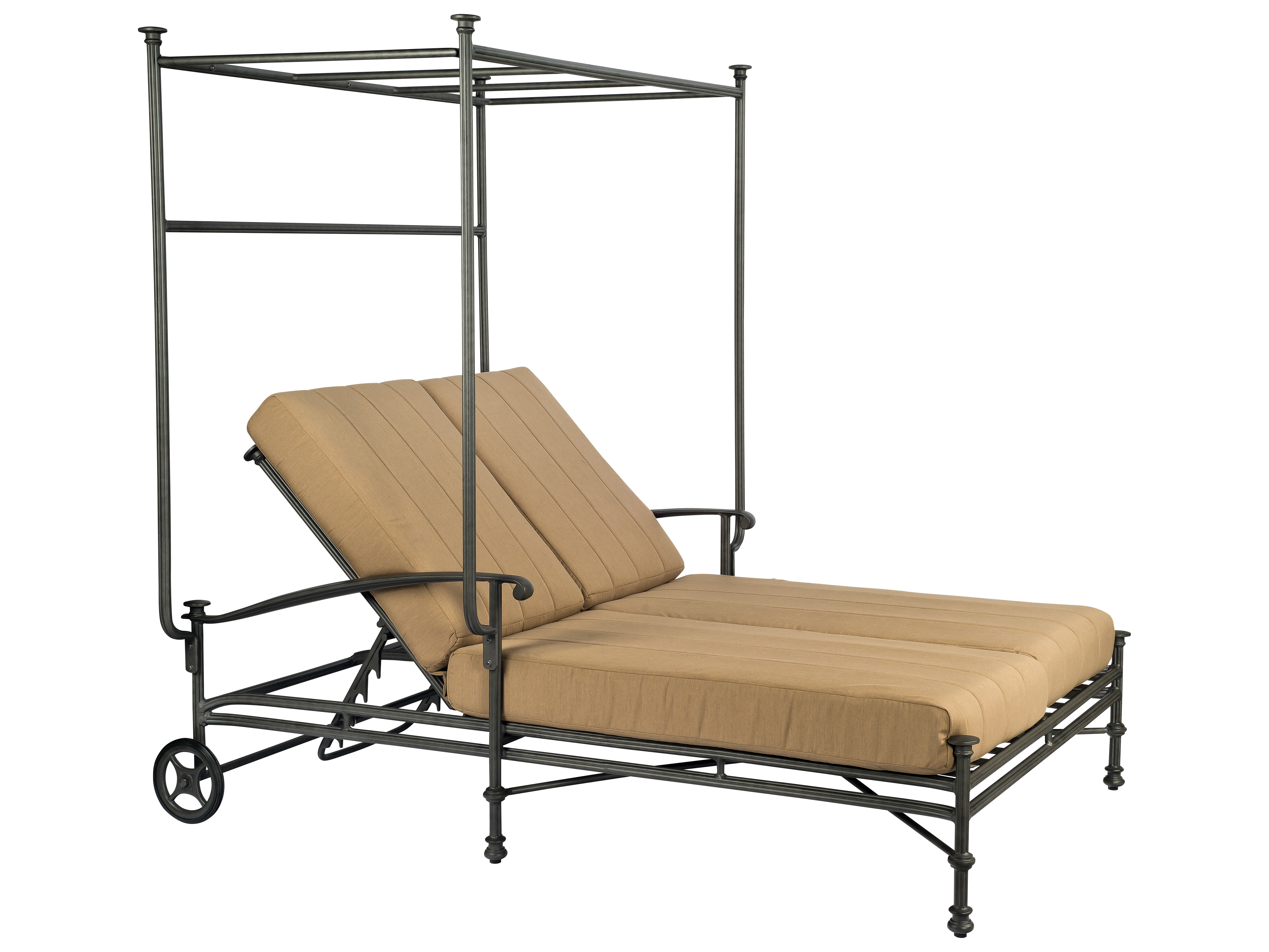 Woodard nova cast aluminum double chaise with canopy 1v0770 for Chaise lounge canopy