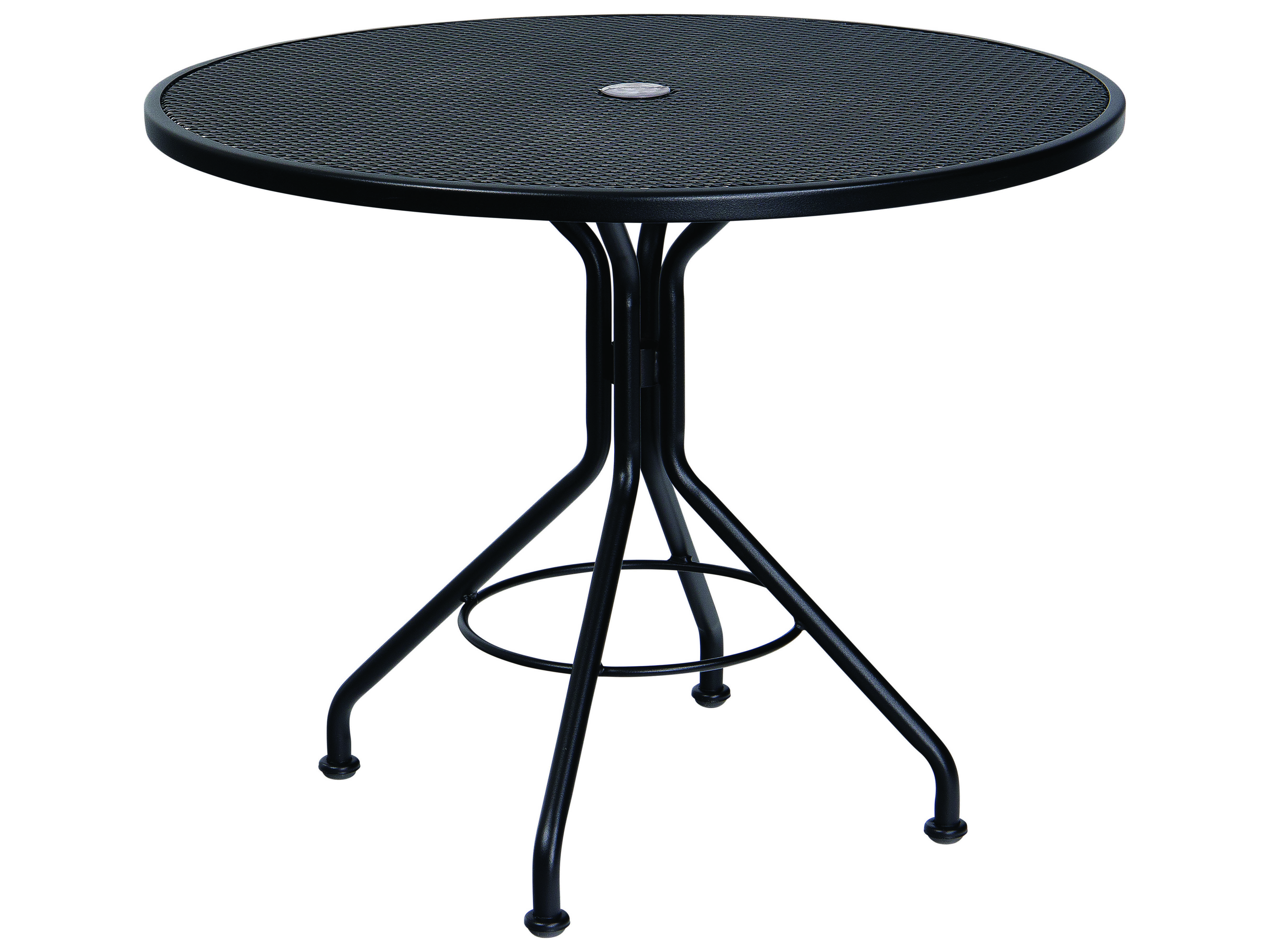 woodard mesh wrought iron 36 round bistro table with