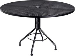9b0926ae57b0e Mesh Wrought Iron 48 Round Table with Umbrella Hole by Woodard
