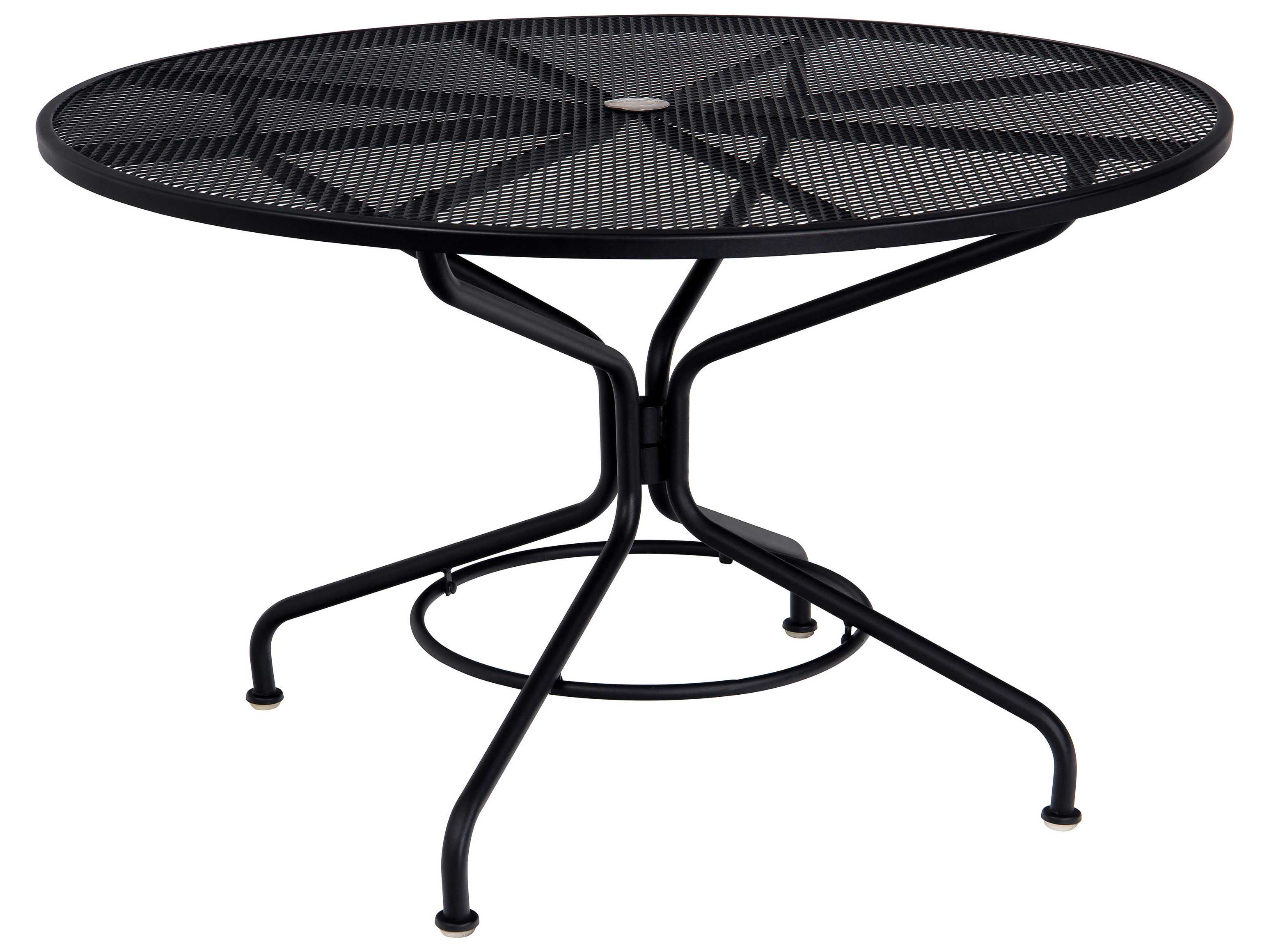 Patiofurniturebuy com woodard mesh wrought iron 48 round table with