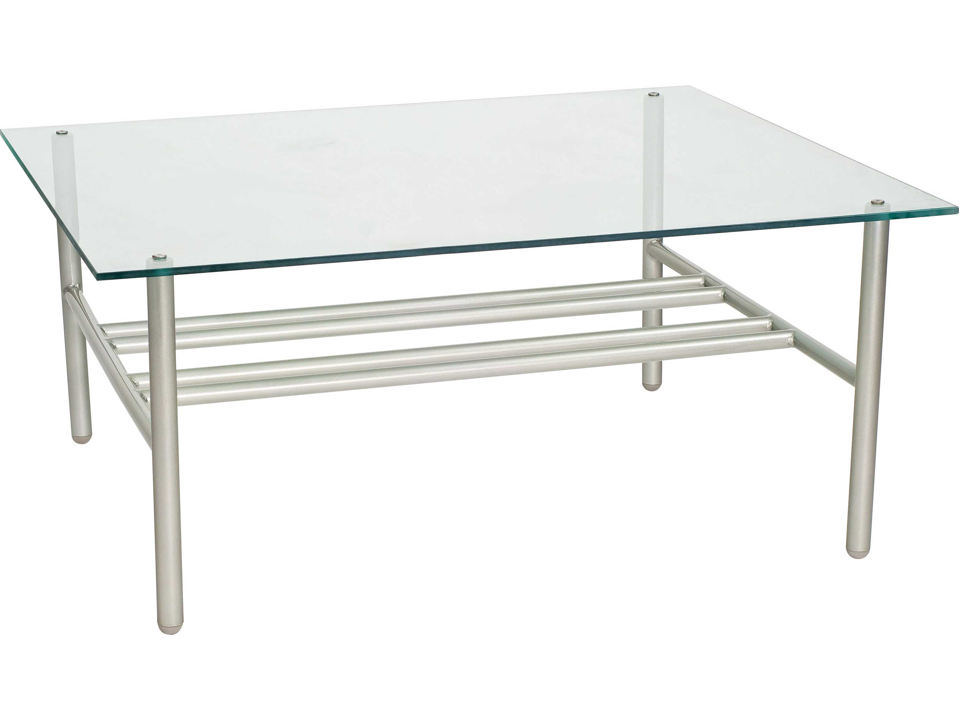 Woodard Uptown Wrought Iron 42 X 36 Rectangular Glass Top Coffee Table 2h0043