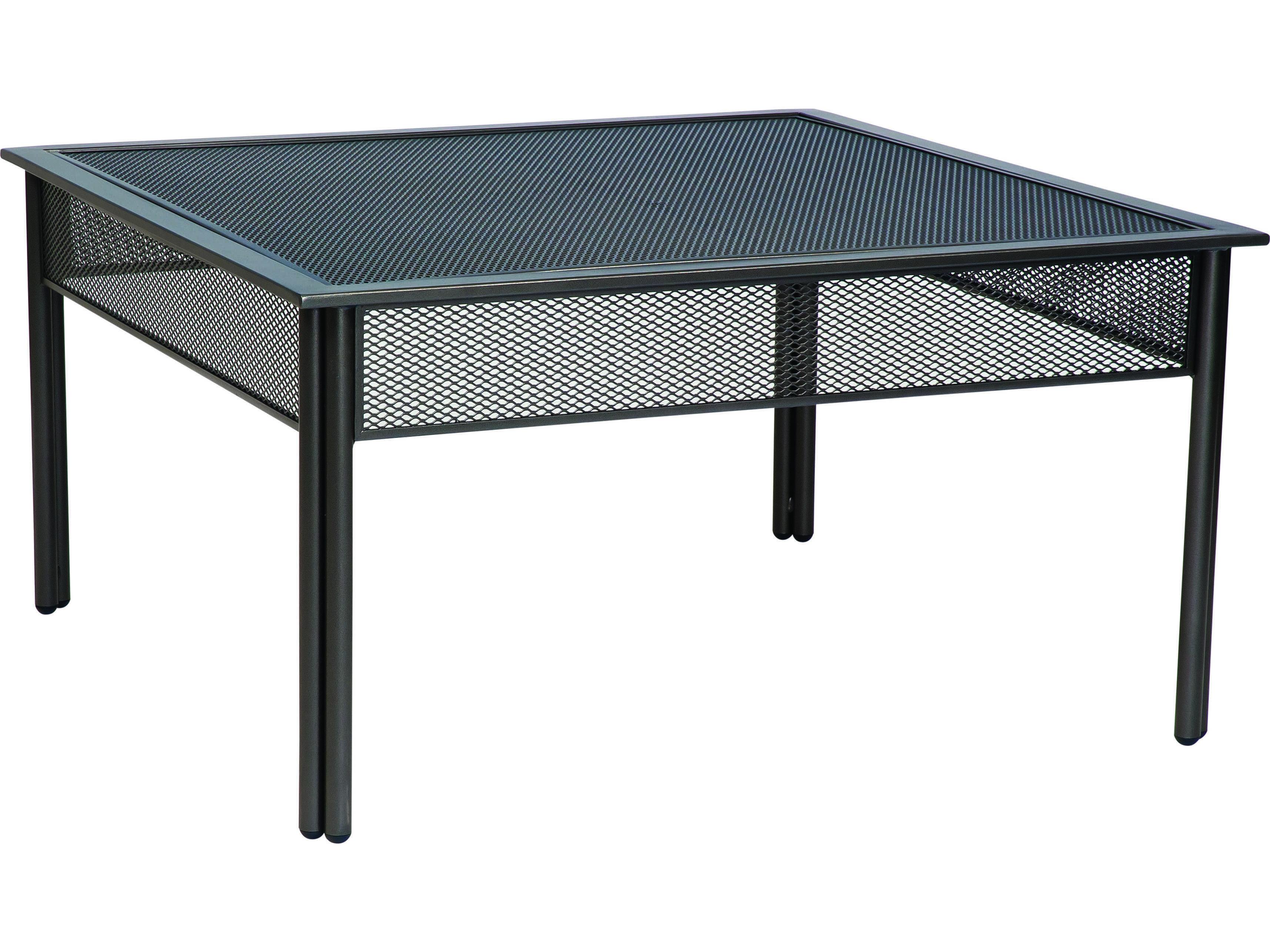 Woodard Jax Wrought Iron 38 3 Square Micro Mesh Coffee Table 2j0053mm